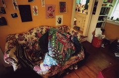 (katya mamadjanian) Tags: pictures window floral girl yellow bathroom garbage bedroom shoes quilt bright room books bookshelf couch blanket messy hanging walls anthropologie organization hardwood girlsbedroom teenage cluttered