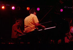 Bob Washut Dream Band (Filippo He) Tags: mediumformat outdoors concert jazz iowa 6x9 musicfestival bigband kodakektachromee200 graflexxl rodenstockrotelar18045
