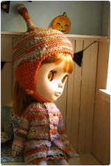orange beige bobble helmet