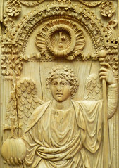 Byzantine panel with archangel, detail of torso