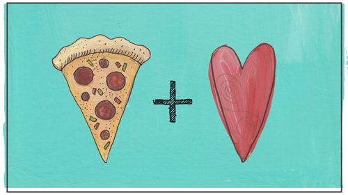 Pizza slice and heart
