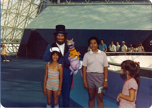 My sister and Me with the Dreamfinder and Figment at the Journey Into Imagination Pavilion at Epcot