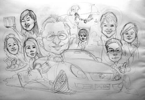 group caricatures for ITI Solutions - pencil sketch