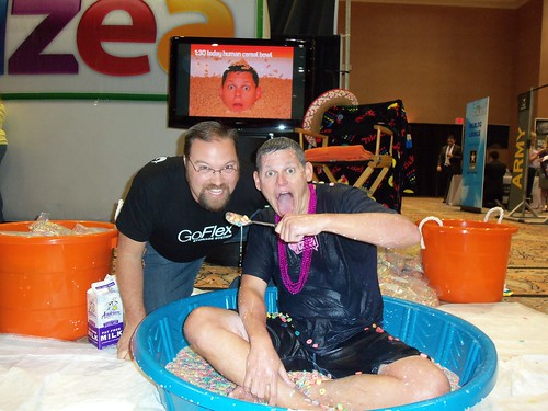 Having some Fruit Loops with Human Cereal Bowl Ted Murphy at BlogWorld Expo 2010