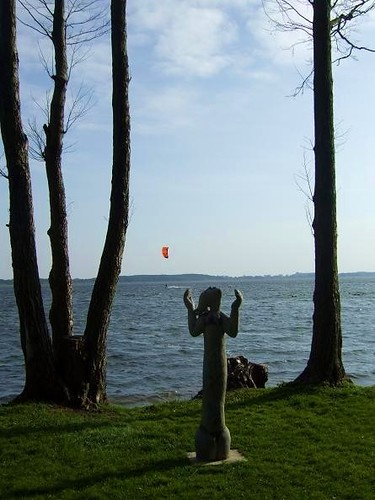 statue at Lake Miedwie in Poland