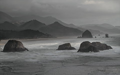 Canon Beach - Cannon Beach from Ecola State Park (janusz l) Tags: park bw beach oregon canon grey coast state pacific shore cannon layers ecola janusz leszczynski 230125