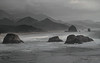 """Canon Beach"" - Cannon Beach from Ecola State Park (janusz l) Tags: park bw beach oregon canon grey coast state pacific shore cannon layers ecola janusz leszczynski 230125"