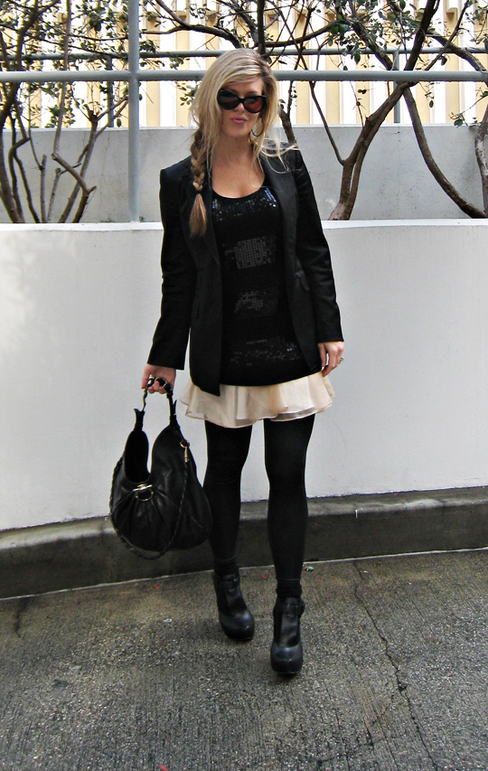 cat eye sunglasses+side braid+ferragamo bag+blazer+ballet skirt+wedges