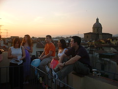 DSCF0157 (lilbuttz) Tags: sunset party sky italy rooftop florence cityscape helensbirthday helensapartment exactlocationunknown accentflorencespring2002