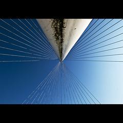 X (Maerten Prins) Tags: bridge blue santiago sky white lines contrast high rusty x dirty symmetry pylon cables calatrava upshot haarlemmermeer luit