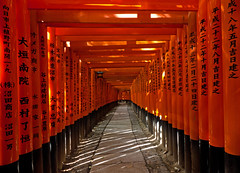 Fushimi Inari-Taisha Shrine - Kyoto (yushimoto_02 [christian]) Tags: red japan kyoto gate shrine inari gates path  nippon shinto vanishing torii  soe fushimiinari repitition fushimi fushimiinaritaisha   colorphotoaward tripleniceshot