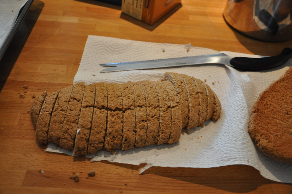 Biscotti loaf sliced and ready to toast