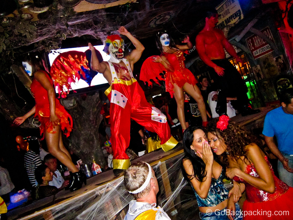 The club dancers and staff at Mango's were dressed up as psycho clowns and devils.