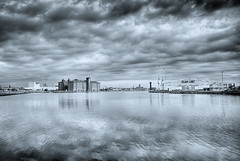 Birkenhead Docklands,UK (Hazeldon73- catching up !) Tags: uk sky docks buildings reflections moody crane dramatic birkenhead docklands toned hdr wirral