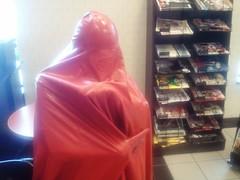 Rearranging my Burqa (latexladyll) Tags: public fetish shopping rubber latex burqa