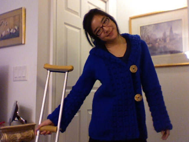 garish blue coat