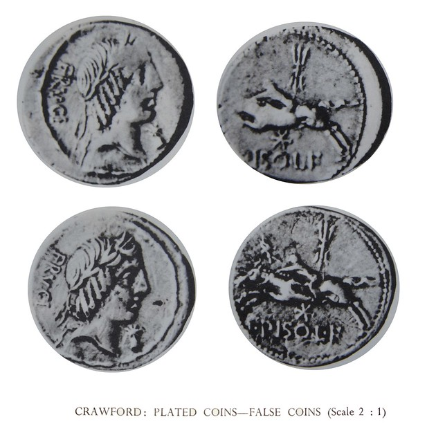 340-1 plated and good silver examples of C.Calpurnius Piso Frugi with different die-breaks showing the plated coin did not come from official dies
