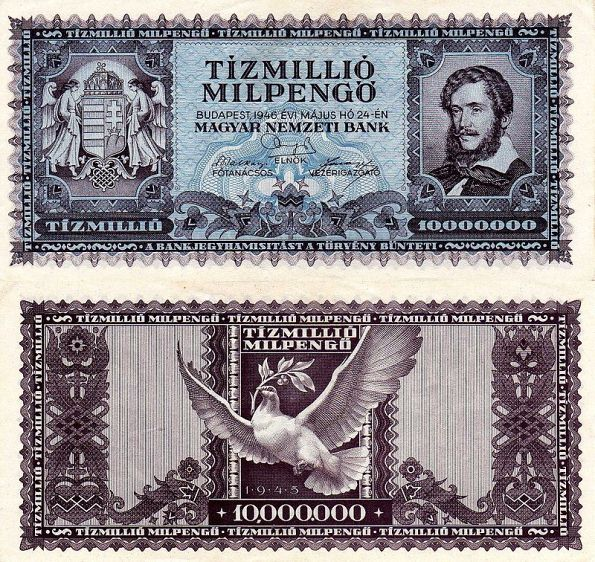 10 miliónov MilPengő Maďarsko 1946, P129