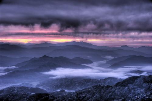 無料写真素材, 自然風景, 山, 霧・霞, 朝焼け・夕焼け, 暗雲, 風景  ネパール, ヒマラヤ山脈