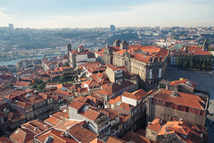 old town rooftops (blackeyeliner) Tags: portugal buildings europe view rooftops porto oldtown bares canoneos5d primelens canonef28mmf28 torredosclerigos clerigostower clerigoschurch