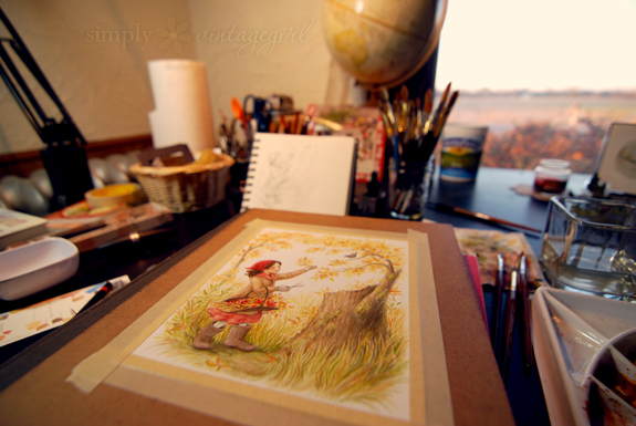 An artist's table.