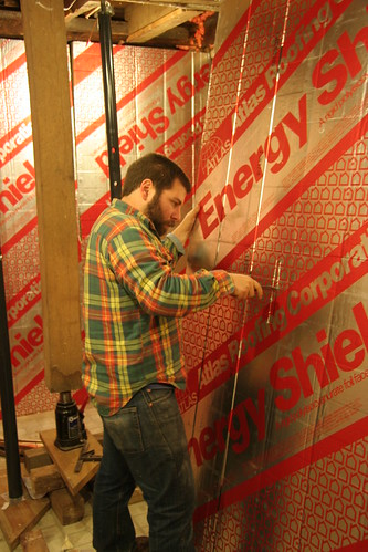 Mike working on insulation
