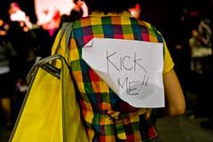 Kick Me!! (Leslie Kalohi / nevercoolinschool.com) Tags: party cute la losangeles santamonica hellokitty sanrio socal iheartnerds santamonicaairport smallgift loungefly barkerhanger 111210 nerdhellokitty