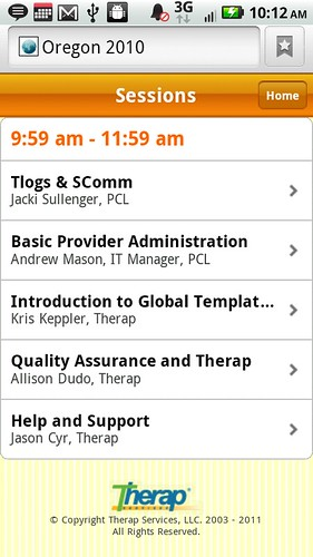 Screenshot of Oregon Conference Session from mobile device