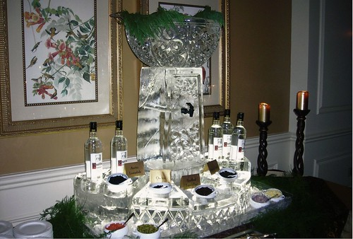 Caviar Station w Vodka dispenser ice sculpture