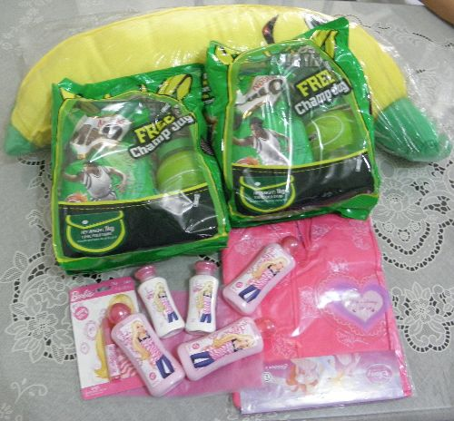 milo, raincoat, barbie, pillow, prizes
