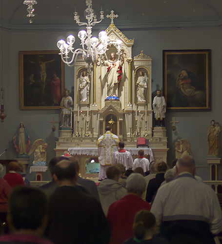 Old Saint Ferdinand Shrine, in Florissant, Missouri, USA - Holy Mass, celebrated by Fr. Bede Price of the Benedictine Abbey