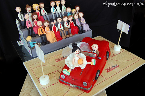 Tarta boda + muñecos modelados