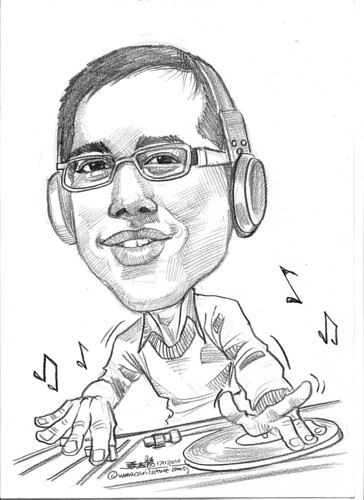 DJ caricature in pencil