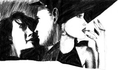 Love is smoking mocking (Wasfi Akab) Tags: original girls shadow portrait people blackandwhite bw italy baby white man black hot cute sexy guy art love girl beautiful beauty hat illustration pen painting paper geotagged fun sketch model kiss kissing europe paint pretty artist italia niceshot artistic drawing expression cigarette smoke iraq babe smoking east painter draw brunette lovely exile middle perugia iraqi hotty ballpoint middleast akab wasfi mygearandme mygearandmepremium mygearandmebronze ringexcellence flickrstruereflection1