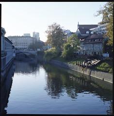Tromostovje, Ljubljana (Pixel Hunter) Tags: most bronica ljubljana medium format ljubljanica tromostovje mesarski