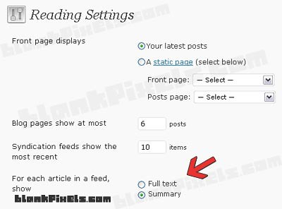 Set Feed Summary only on WordPress - blankpixels.com