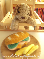 Turkey Sandwich with French Fries (wholesomeplaytime) Tags: wool toys pretend playfood earthfriendly allnatural