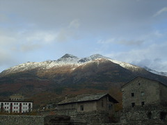 (samantha waugh) Tags: trees houses italy snow mountains alps cold clouds stones peaks aosta