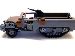 "M21 Halftrack ""Marie Lou"". (Carpet lego) Tags: lego mary wheels wheeled american backpacks backpack lou ww2 vehicle tread halftrack browning m21 treads treaded"