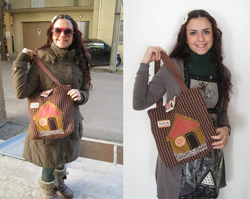 Francesca and her Gingerbread House handmade bag