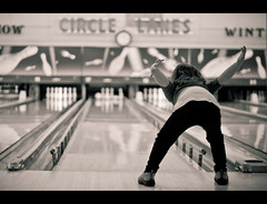 The winged strike pose (Jaime973) Tags: canon 50mm funny raw daughter gratitude lovehertopieces shelovestobowl thisisoneofmanybowlingposeslol