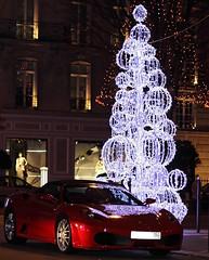 Day 78: Dear Santa, I Want a Ferrari (real.tingley) Tags: christmas street paris france reflection night speed canon french lights italian decoration fast convertible 360 ferrari christmastree 365 expensive luxury dior sportscar 500d droptop t1i