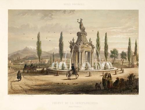 019-Fuente de la independencia paseo y ciudadela- Album Pintoresco de la Republica Mexicana 1850