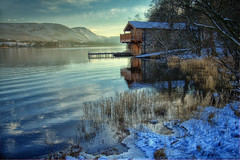 Oh it is that good old boathouse (Jo_Krazy) Tags: house snow canon river reeds boat side filter hdr ullswater nd4 60d mywinners anawesomeshot