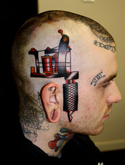 bulldog tattoo machine on head (Myke Chambers Tattoos) Tags: pictures old city school color classic philadelphia face tattoo austin back artist texas hand arm head traditional leg hell tattoos pa american artists convention conventions sailor custom myke bound chambers tatto tradional tato tattos pennsilvania eternally tattooer
