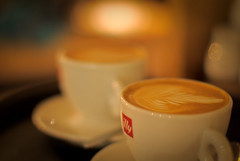 Illy Flat White (On the mountain at dawn) Tags: white art coffee beautiful manchester milk cafe pretty flat head picture foam espresso illy latte barista cornerhouse rosetta