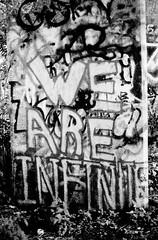 Graffiti Pier_018_01 (mujetdebois) Tags: halideproject 35mm canonelan100 ilfordfp4plus400 graffitipier blackandwhite analogphotography biancoenero blackandwhitephotography filmisnotdead filmlives graffiti filmphotography monochrome negroyblanco noirblanc schwarzundweiã streetart streetportrait schwarzundweis черноеибелое