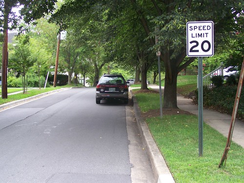 20 mph speed limit sign on Stanford Ave. at East Ave in the Town of Chevy Chase, Maryland