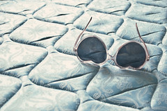 (yyellowbird) Tags: pink blue sunglasses hotel bed heart lolita mattress