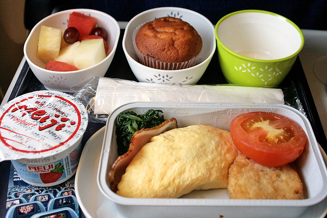 Omelette breakfast set on Cathay Pacific